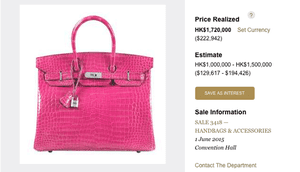 Hermes Birkin bag listing
