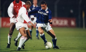 Ronaldo of PSV, right, takes on Ajax's Michael Reiziger during an Eredivisie match in 1995. Photograph: VI Images via Getty Images
