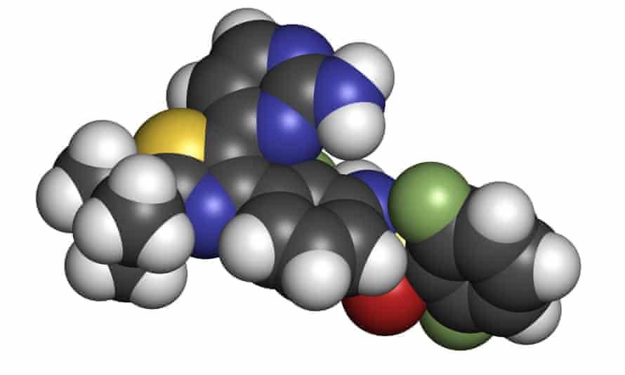 Chemical structure of the dabrafenib melanoma cancer drug.