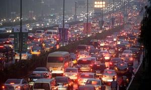A traffic jam on a street in Beijing in September 2014.