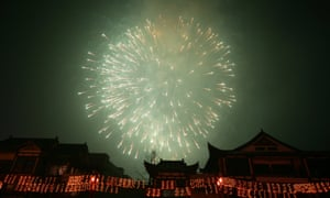 Fireworks during Lantern Festival celebrations in Chongqing Municipality, China, February 2008.
