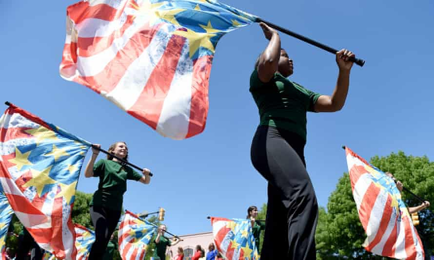 The Aiken High School Color Guard performs on Memorial Day.