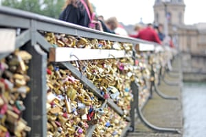 A view of padlocks at Pont Des Arts bridge