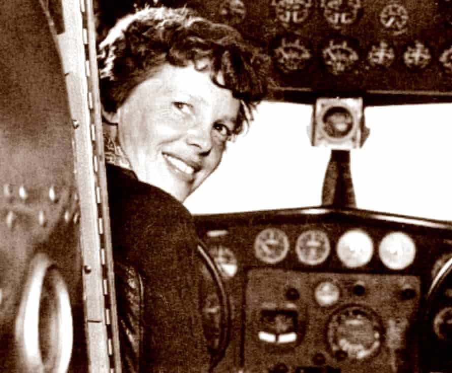 Amelia Earhart in the cockpit.