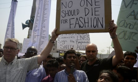 Bangladeshi activists and relatives of the Rana Plaza victims taking part in a protest marking the first anniversary of the disaster.