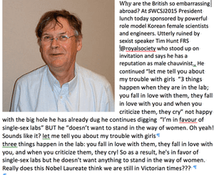 Tim Hunt's comments sparked furore