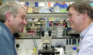 Tim Hunt, right, with fellow Nobel laureate Sir Paul Nurse. No crying in their lab, apparently.