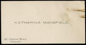 "Calling card inscribed: ""Katharina Mansfield, 132, Cheyne Walk, Chelsea."""