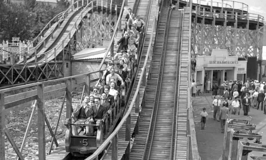 Rollercoaster at Dreamland amusement park, Margate, Kent.