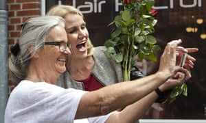 Helle Thorning-Schmidt poses for a selfie with a voter in Ringsted