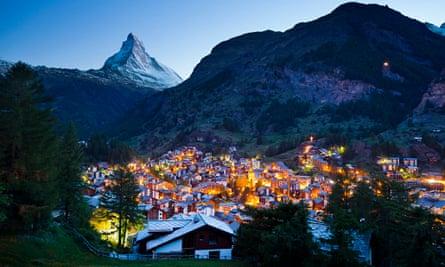 the Matterhorn and Zermatt at dusk