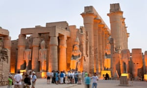 """Tourists - or are they """"lovers of antiquity""""? - at the Columned Hall inside Luxor Temple"""