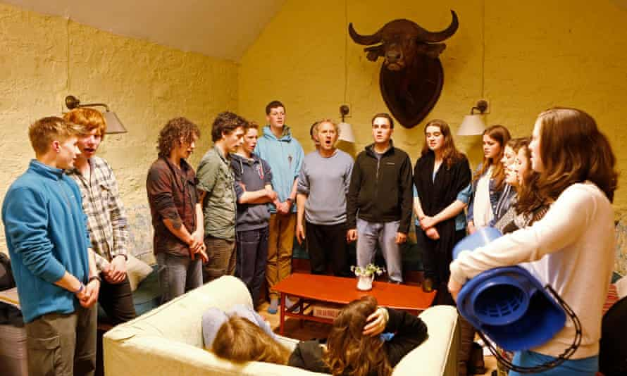 Right on song: singing in the youth hostel.