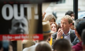 Tim Farron taking part in a protest last month against the Conservative government's proposal to scrap the Human Rights Act.