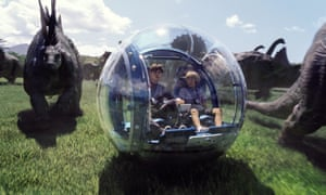 Nick Robinson and Ty Simpkins in a scene from Jurassic World.