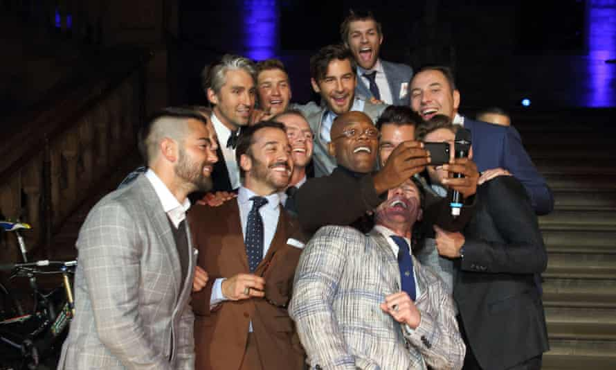 A group selfie at last year's inaugural One For The Boys Fashion Ball, featuring Samuel L Jackson, David Walliams, Simon Pegg and Jeremy Piven.