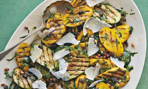 Chargrilled courgette and sorrelsalad