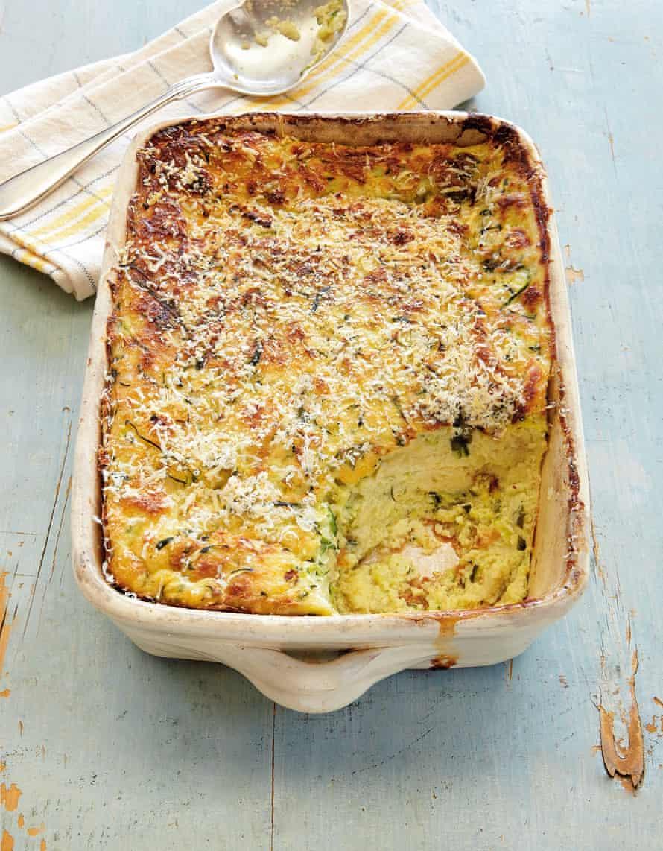 Courgette and ciabatta frittata