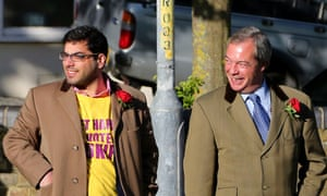 Kassam and Farage on the campaign trail on the eve of the election, 7 May.