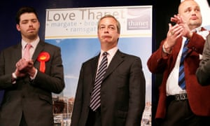 Farage hears of his defeat in South Thanet on 8 May, with fellow contestants Will Scobie and Al Murray.