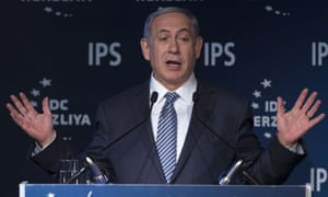 "Israeli Prime Minister Binyamin Netanyahu delivers a speech during the 15th Herzliya conference entitled ""Israel in a turbulent Middle East""."