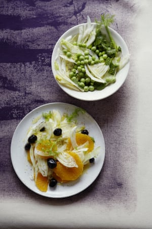 Fennel, pea and mint salad and fennel, orange and olive salad