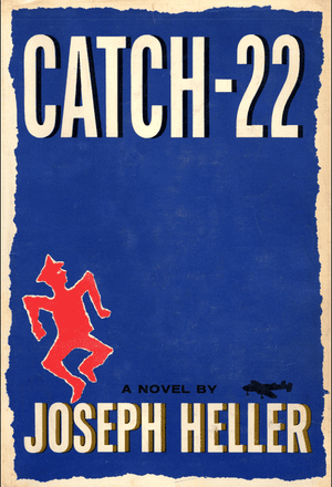 "Catch 22 cover by Paul Bacon As a designer, Bacon was known for pioneering the ""Big Book Look,"" characterized by the title and author's name in large lettering"
