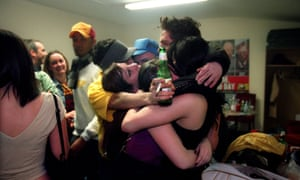 Amy Winehouse celebrates with Tyler James and friends backstage after a gig at Bush Hall