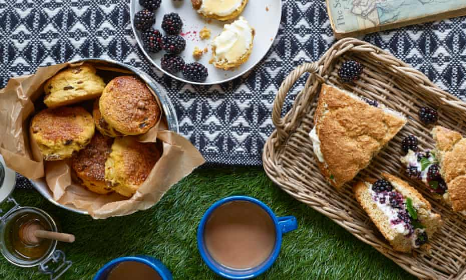 Spelt, blackberry and lemon-cream shortcake (a bit like a scone) and unusual saffron, honey and sultana scones.