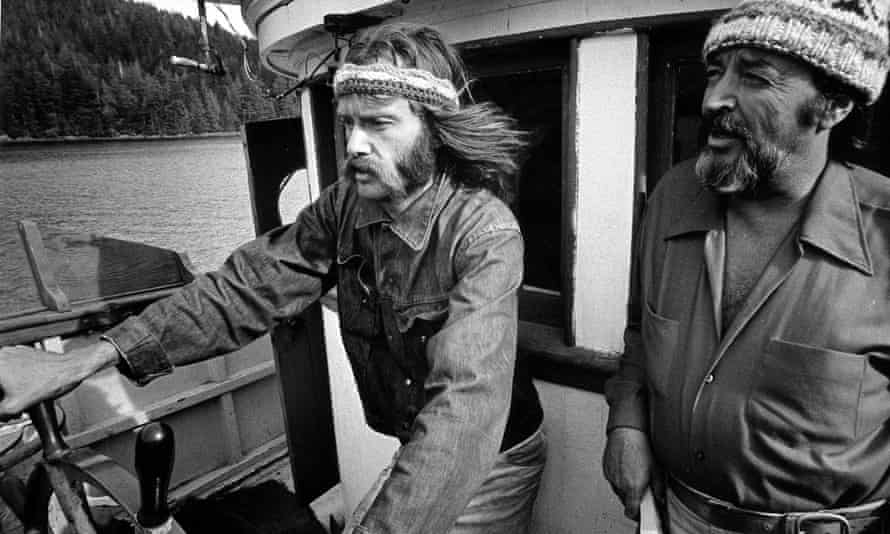 Greenpeace co-founder and Canadian journalist Bob Hunter (left) is seen en route to Amchitka Island, Alaska.