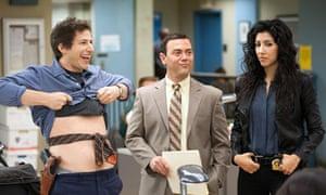Andy Samberg, Joe Lo Truglio and Stephanie Beatriz in Brooklyn Nine-Nine
