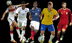 Five to watch, from left: Germany's Julian Draxler, England's Raheem Sterling, France's Paul Pogba, Brazil's Lucas Silva and Spain's Álvaro Morata.