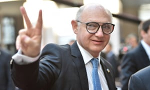 The Argentinian foreign minister, Hector Timerman, arrives at the summit in Brussels.