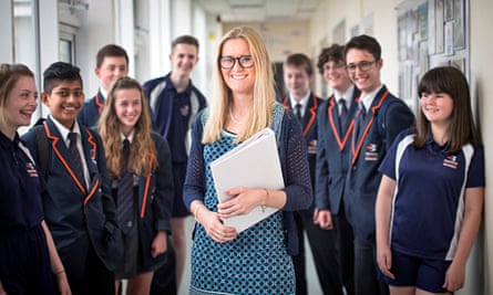 Lindsay Skinner with pupils at Bridgwater College Academy in Somerset.