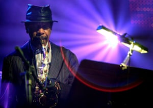 US saxophonist Ornette Coleman performing on stage during the special event 'Hommage to Nesuhi Ertegun' of the 40th Montreux Jazz Festival at the Stravinski hall in Montreux, Switzerland.