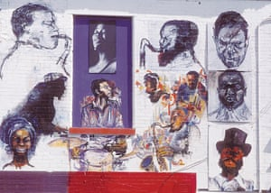 Detail showing the section of 'The Wall of Respect' celebrating jazz, Chicago, IL, 1967. Painted together by Elliott Hunter, Jeff Donaldson, and containing photos by Billy Abernathy, it shows the following figures (l to r, top row): Charlie Parker, Sarah Vaughn, Eric Dolphy, John Coltrane. (l to r, middle row): Thelonious Monk, Max Roach, Miles Davis, Charles Mingus, and Elvin Jones. (l to r, bottom): Nina Simone, Sonny Rollins, and Ornette Coleman.