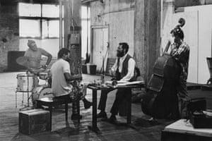 American jazz ensemble, the Ornette Coleman Quartet, New York, 1971. Left to right: drummer Ed Blackwell (1929 - 1992), tenor saxophonist Dewey Redman (1931 - 2006), alto saxophonist Ornette Coleman and bassist Charlie Haden.