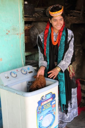 Micro-hydro plants provide electricity for washing machines and other labour-saving devices.