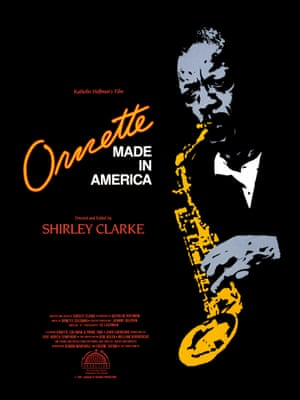 One sheet movie poster advertises the jazz documentary 'Ornette: Made in America,' directed by Shirley Clarke and featuring saxophonist Ornette Coleman, Don Cherry, Charley Hayden and Darnel Coleman, 1985.