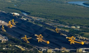 Coal is stockpiled in preparation for loading onto ships for export, at the Newcastle Coal Terminal in Newcastle, north of Sydney, Australia,