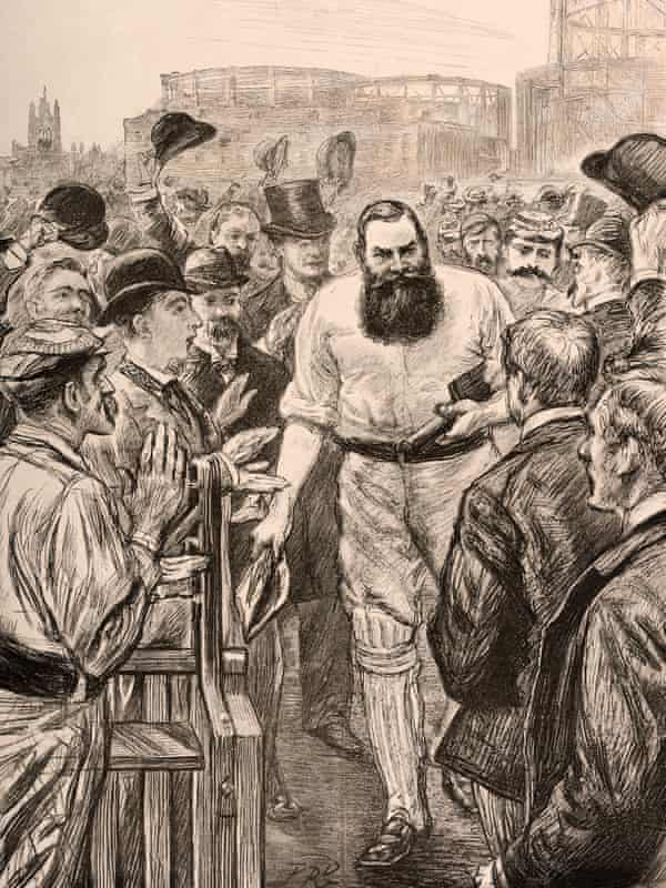 A vintage 1893 illustration of the cricketer WG Grace at the Oval cricket ground shows the gasometers in the background.