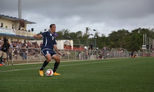 Alexander Lee advances down the right for Guam.A first-half own goal by Serdar Annaorazov gave the hosts victory.