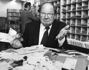 Cliff Michelmore, who presented the BBC current affairs programme <em>Tonight</em>, pictured in 1981.