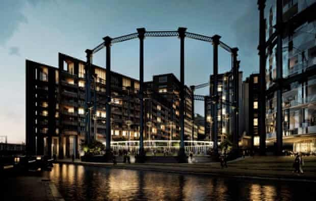 Gasholder No 8, which has been dismantled, refurbished and rebuilt on the other side of Regent's Canal at King's Cross, where it now encircles a new park and live events space.
