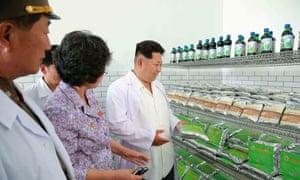 North Korean leader Kim Jong-Un inspecting the Pyongyang Bio-technical Institute in Pyongyang.