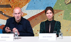 Rem Koolhaas and Dasha Zhukova take questions in front of a Soviet-era mosaic.