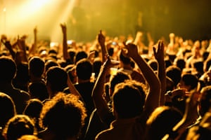 Crowd in a concert at Razzmatazz stage on May 16, 2014 in Barcelona, Spain.