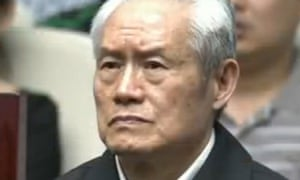 Zhou Yongkang at his trial, where he was sentenced on 11 June to life in prison.