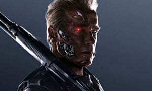 Arnold Schwarzenegger is the Terminator in Terminator Genisys.