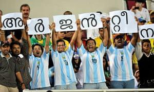 Qatari fans watch Argentina play Brazil